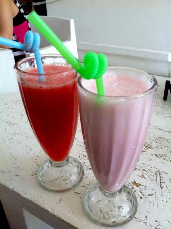 西瓜/西瓜汁与草莓奶昔
