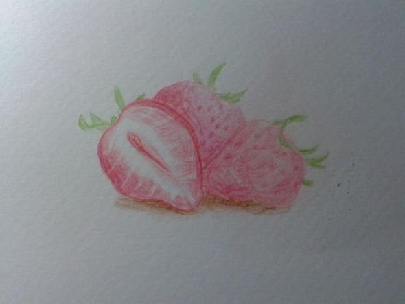彩色铅笔画 草莓
