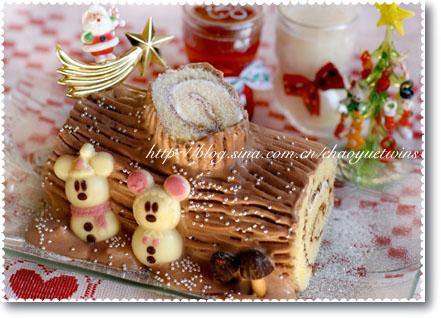 用市场上的成品卷糕和巧克力糖果,简单制作可爱树桩蛋糕!